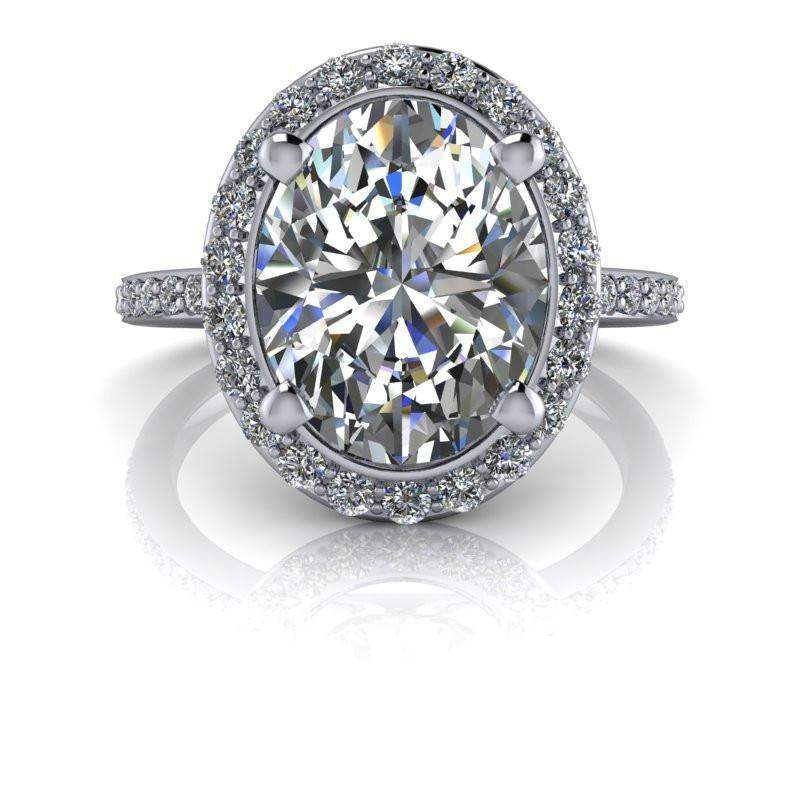 3.42 CTW Oval Colorless Moissanite Halo Engagement Ring-Bel Viaggio Designs, LLC
