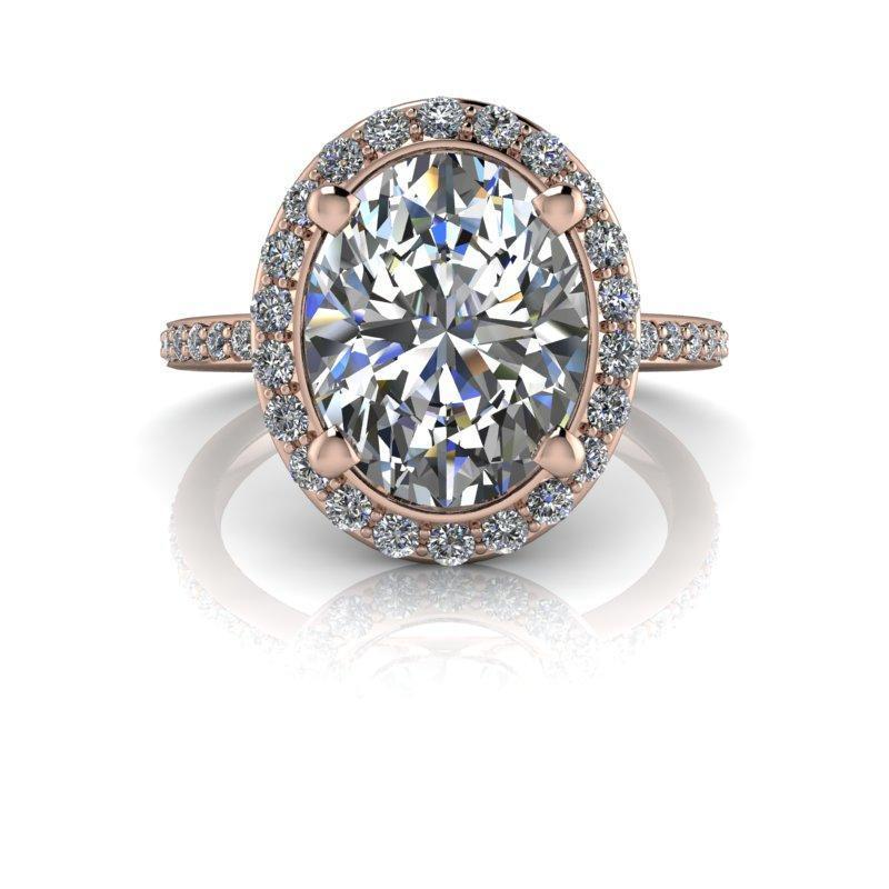 3.42 CTW Oval Forever One Moissanite Halo Engagement Ring-Bel Viaggio Designs