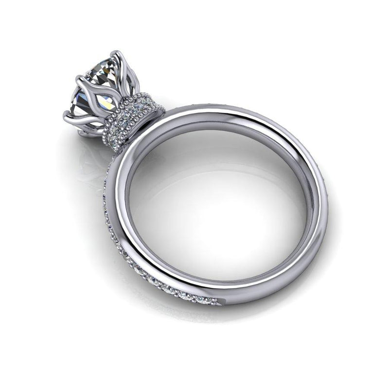 3.45 CTW Oval Forever One Moissanite Stacy K Opulence Engagement Ring-Bel Viaggio Designs