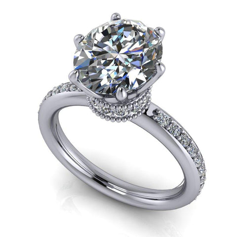 3.45 CTW Oval Forever One Moissanite Stacy K Opulence Engagement Ring-Bel Viaggio Designs, LLC
