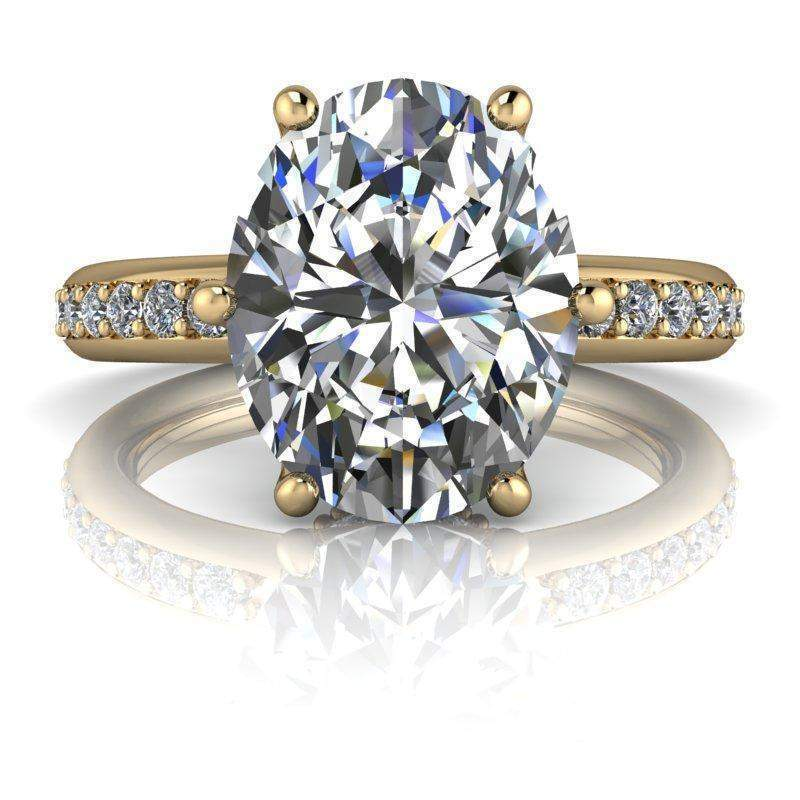 3.45 CTW Stacy K Opulence Limited Edition Oval Moissanite Halo Collar Engagement Ring-Bel Viaggio Designs
