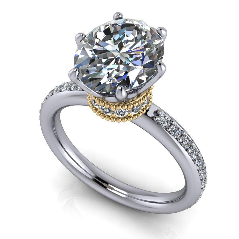 3.45 CTW Stacy K ~ Opulence Limited Edition Oval Moissanite Halo Collar Engagement Ring-Stacy K-Bel Viaggio Designs-Bel Viaggio®