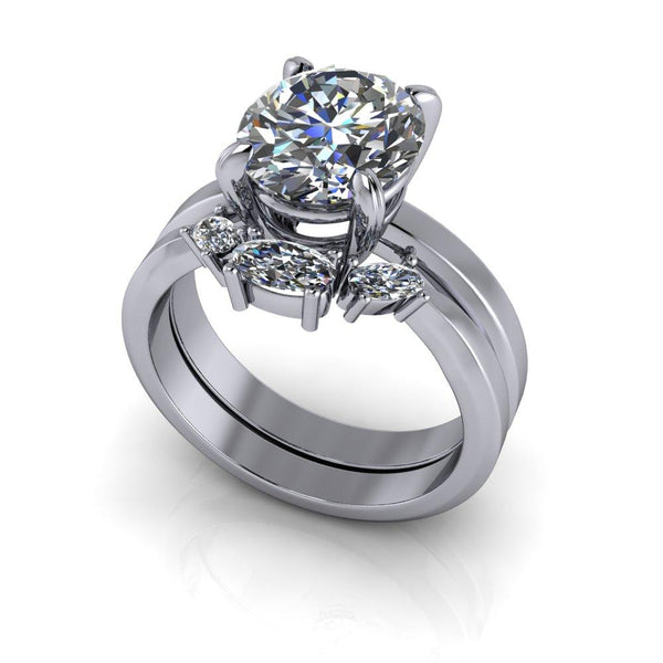 3.46 CTW Oval Forever One Colorless Moissanite Engagement Ring/Bridal Set-Bel Viaggio Designs