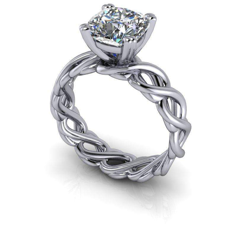 3.48 CTW Infinity Solitaire Engagement Ring Diamond Wedding Bands-Bel Viaggio Designs