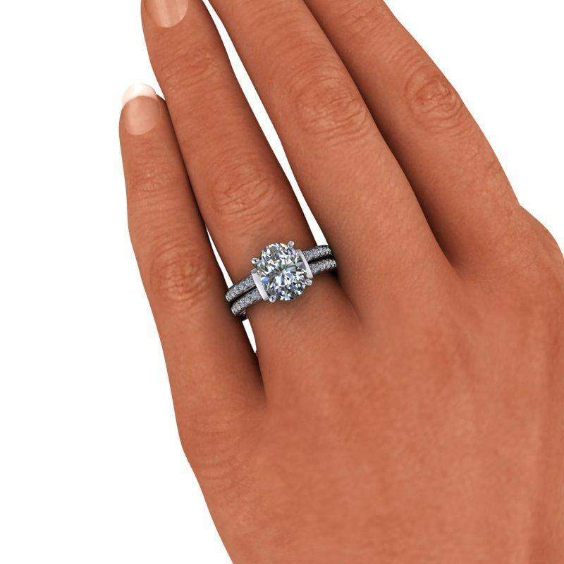 3.48 CTW Oval Forever One Moissanite Split Shank Engagement Ring-Bel Viaggio Designs