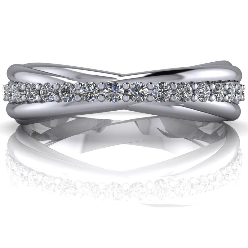 .35 CTW Forever One Moissanite Criss Cross Wedding Band-Bel Viaggio Designs, LLC