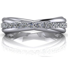 .35 CTW Forever One Moissanite Criss Cross Wedding Band-Forever One-Bel Viaggio Designs-Bel Viaggio®