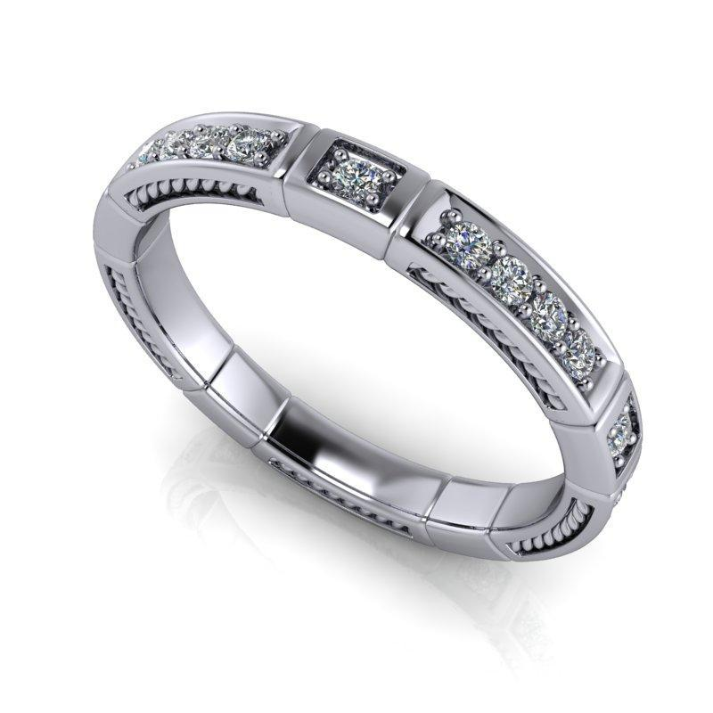 .35 CTW Vintage Style Lab Grown Diamond Wedding Band-Bel Viaggio Designs