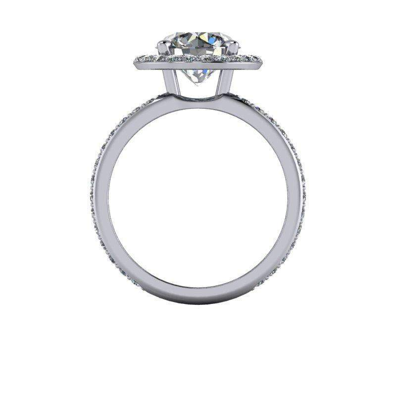 3.50 CTW Forever One Moissanite Negative Space Halo Engagement Wide Ring-Bel Viaggio Designs