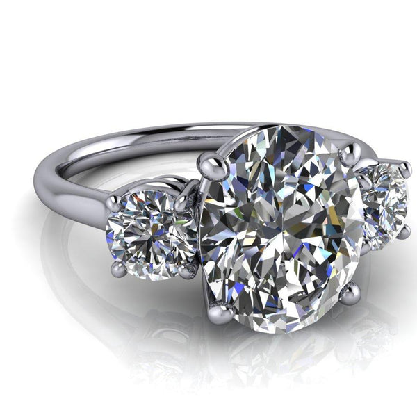 3.50 CTW Oval Moissanite 3-Stone Anniversary Ring, DEF Color-Bel Viaggio Designs