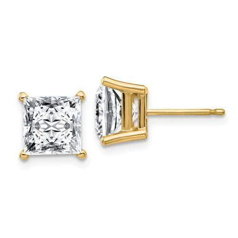 3.50 CTW Princess Cut Stud Earrings - 14kt Gold Moissanite 4-Prong Basket Post Earrings-BVD
