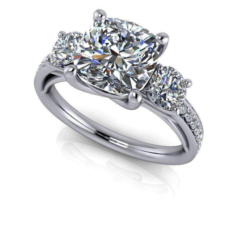 3.50 CTW Three Stone Forever One Cushion Cut Engagement Ring-Bel Viaggio Designs