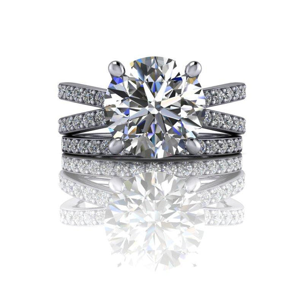 3.52 CTW Forever One Moissanite Bridal Set, Split Shank-Bel Viaggio Designs