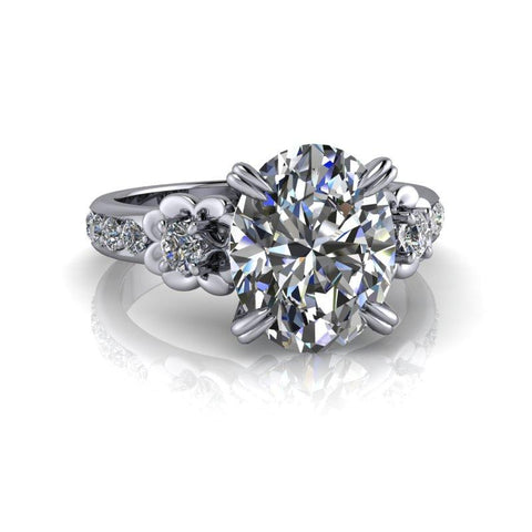 3.52 CTW Oval Forever One Moissanite Engagement Ring-Bel Viaggio Designs
