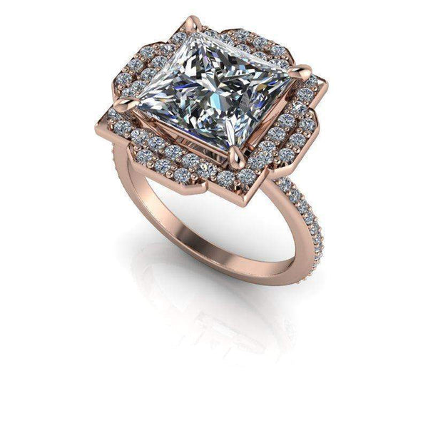 3.53 CTW Princess Cut Halo Engagement Ring Lab Grown Diamond-Bel Viaggio Designs