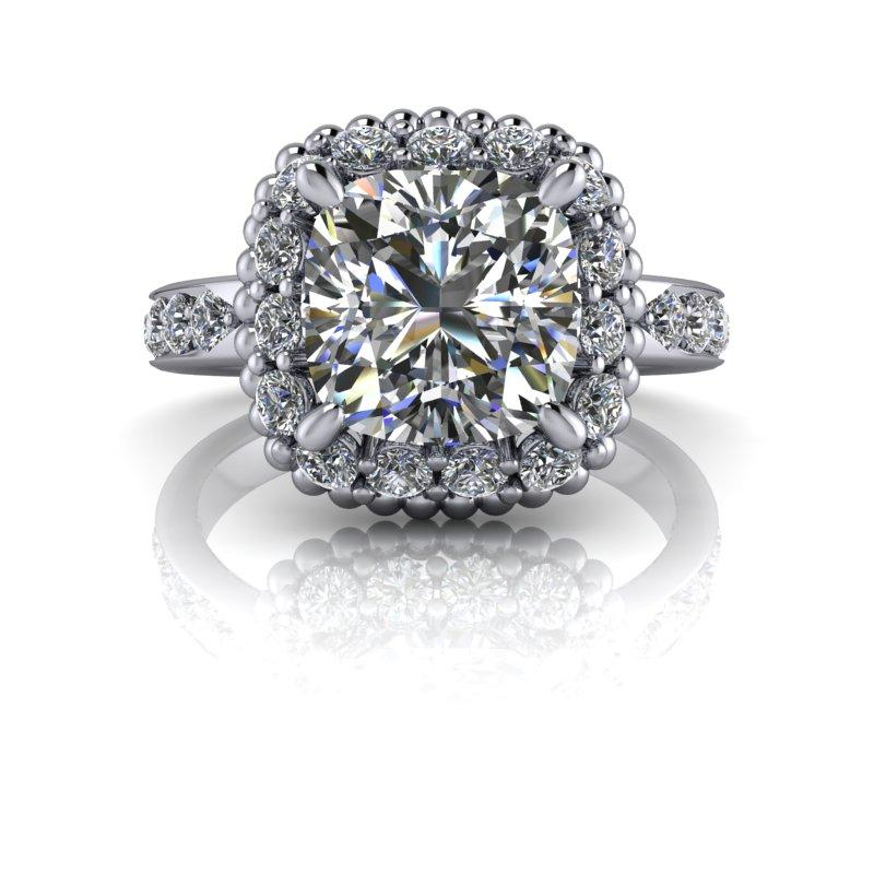 3.54 CTW Cushion Cut Colorless Moissanite Halo Engagement Ring, Stacy K Opulence-Bel Viaggio Designs