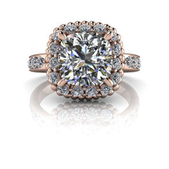 3.54 CTW Cushion Cut Forever One Moissanite Halo Engagement Ring, Stacy K Opulence-BVD