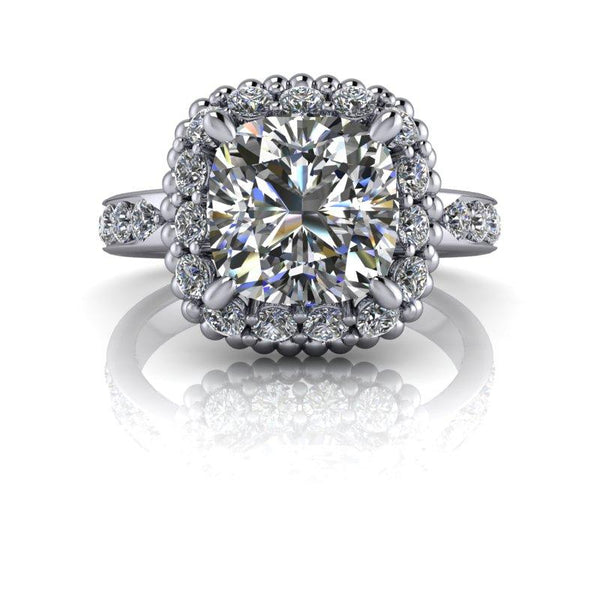 3.54 CTW Cushion Cut Forever One Moissanite Halo Engagement Ring, Stacy K Opulence-Bel Viaggio Designs