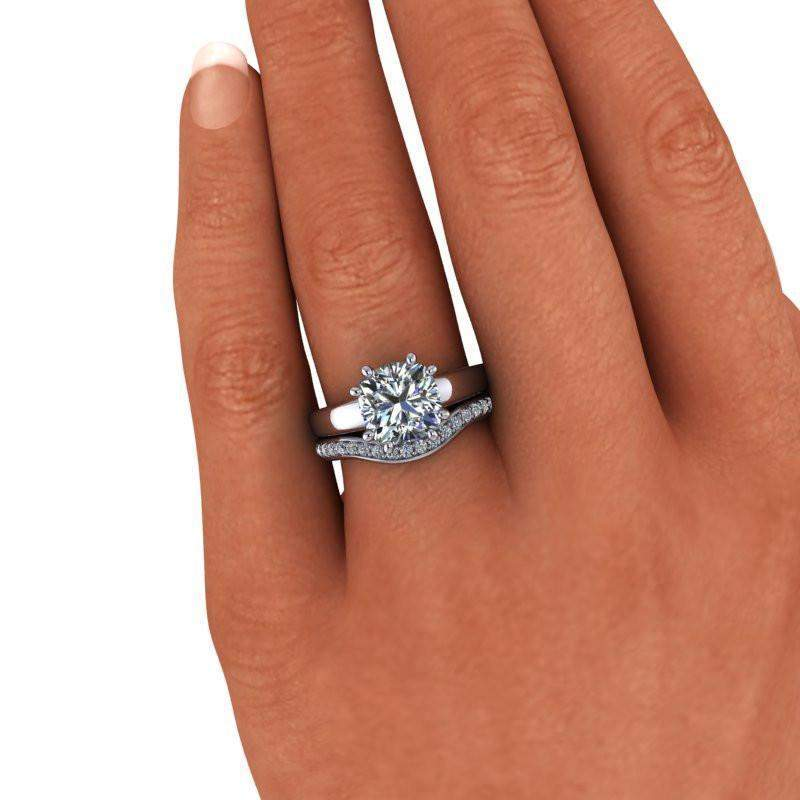 3.55 CTW Bridal Set Moissanite Cushion Cut Solitaire Engagement Ring-Bel Viaggio Designs