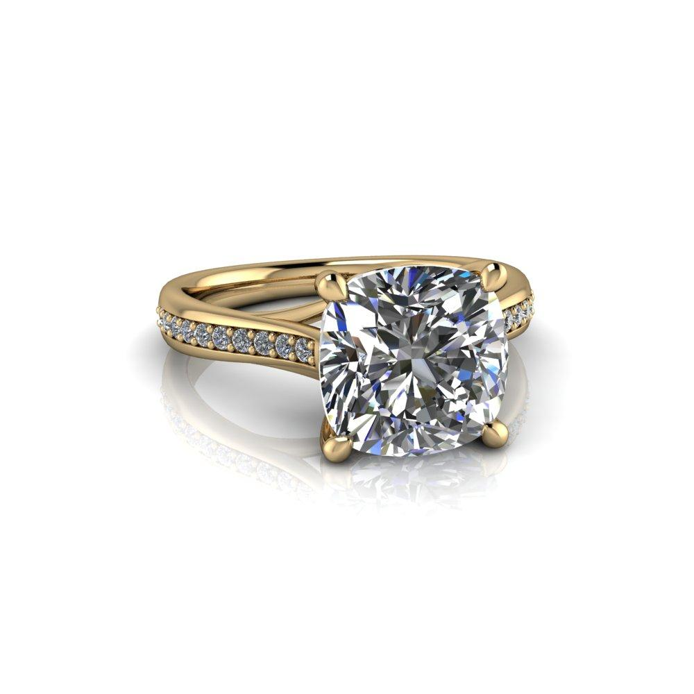 3.55 CTW Cushion Cut Colorless Moissanite Cathedral Engagement Ring-Bel Viaggio Designs, LLC