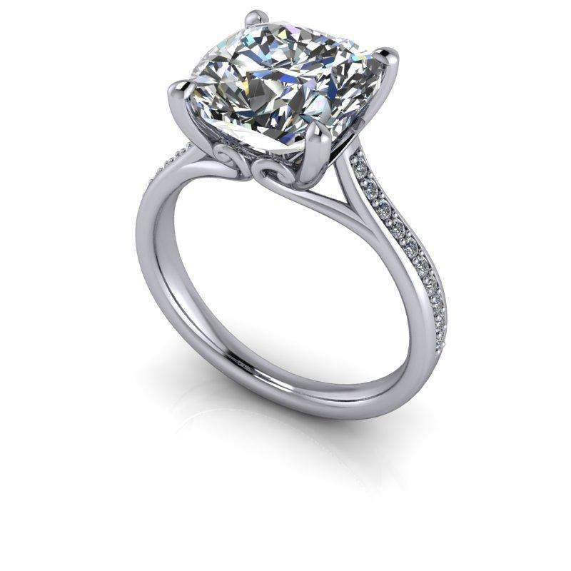 3.55 CTW Cushion Cut Colorless Moissanite Cathedral Engagement Ring-Celestial Premier-Bel Viaggio Designs-Bel Viaggio®