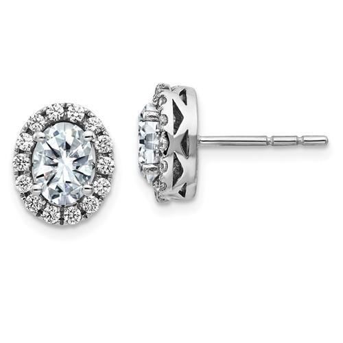 3.56 CTW Oval Halo Moissanite Earrings, DEF Color-Bel Viaggio Designs