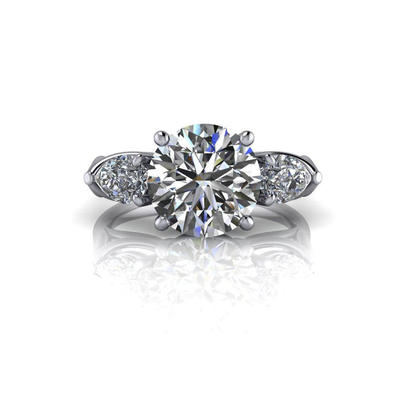 3.56 ctw Three Stone Colorless Moissanite Ring Pear and Round-Bel Viaggio Designs