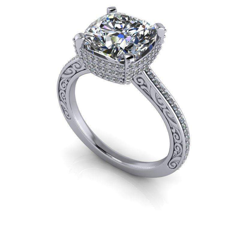 3.56 CTW Vintage Style Diamond Engagement Ring - Cushion Cut Colorless Moissanite Ring-Bel Viaggio Designs, LLC