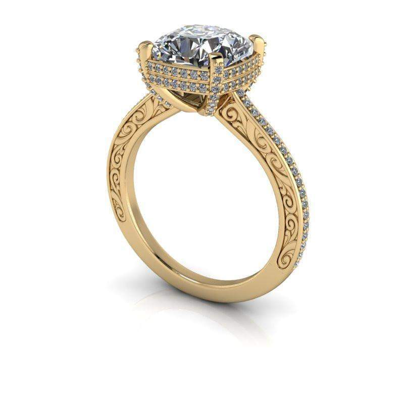3.56 CTW Vintage Style Diamond Engagement Ring - Cushion Cut Forever One Moissanite Ring-BVD
