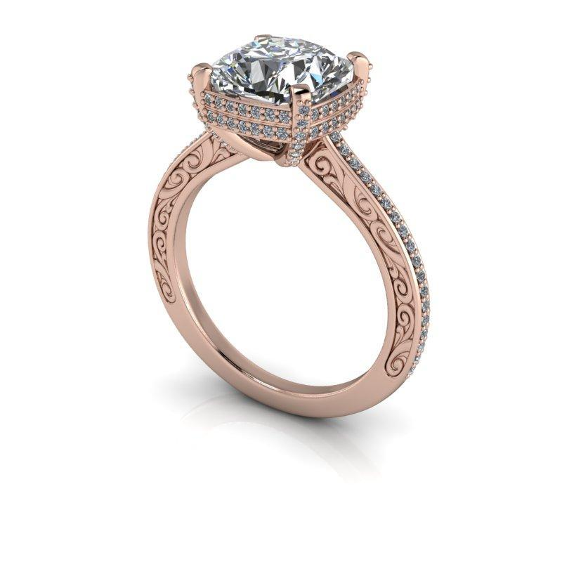 3.56 CTW Vintage Style Diamond Engagement Ring - Cushion Cut Forever One Moissanite Ring-Bel Viaggio Designs
