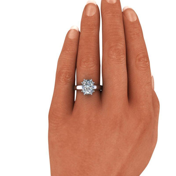 3.58 CTW Elongated Cushion Cut Moissanite Solitaire Engagement Ring-Bel Viaggio Designs