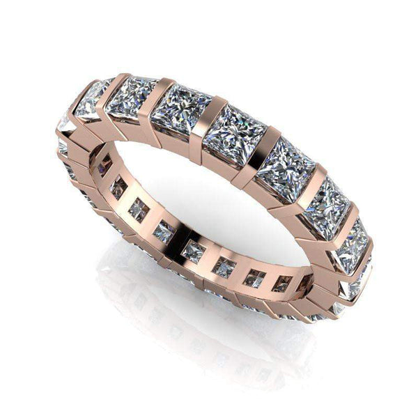 3.60 CTW Colorless Moissanite Princess Cut Eternity Band-Bel Viaggio Designs