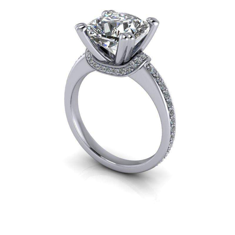3.61 CTW Cushion Cut Moissanite Engagement Ring-Bel Viaggio Designs, LLC