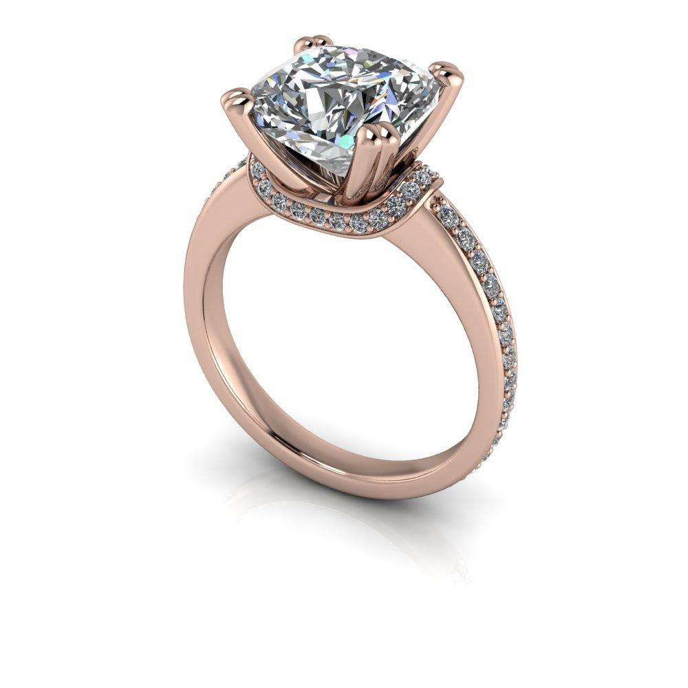 3.61 CTW Forever One Cushion Cut Moissanite Engagement Ring-Forever One-Bel Viaggio Designs-Bel Viaggio®
