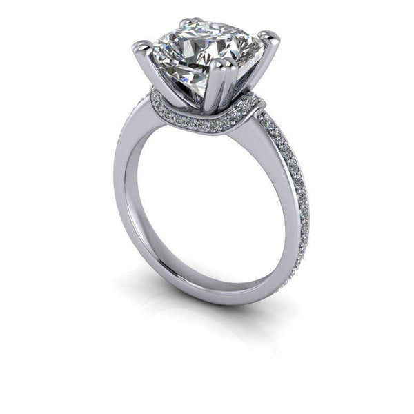 3.61 CTW Forever One Cushion Cut Moissanite Engagement Ring-BVD