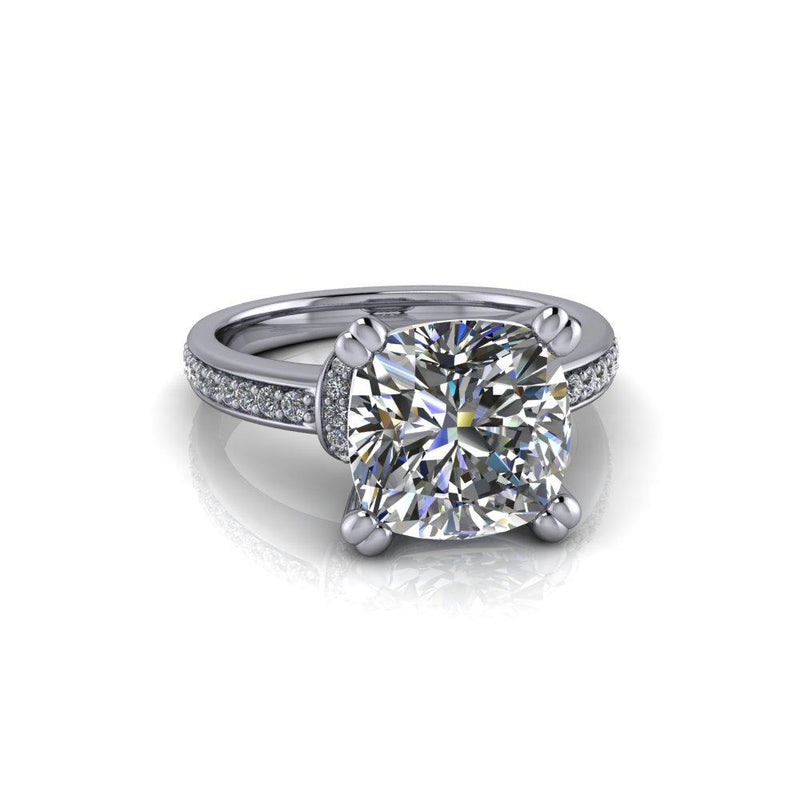 3.61 CTW Forever One Cushion Cut Moissanite Engagement Ring-Bel Viaggio Designs