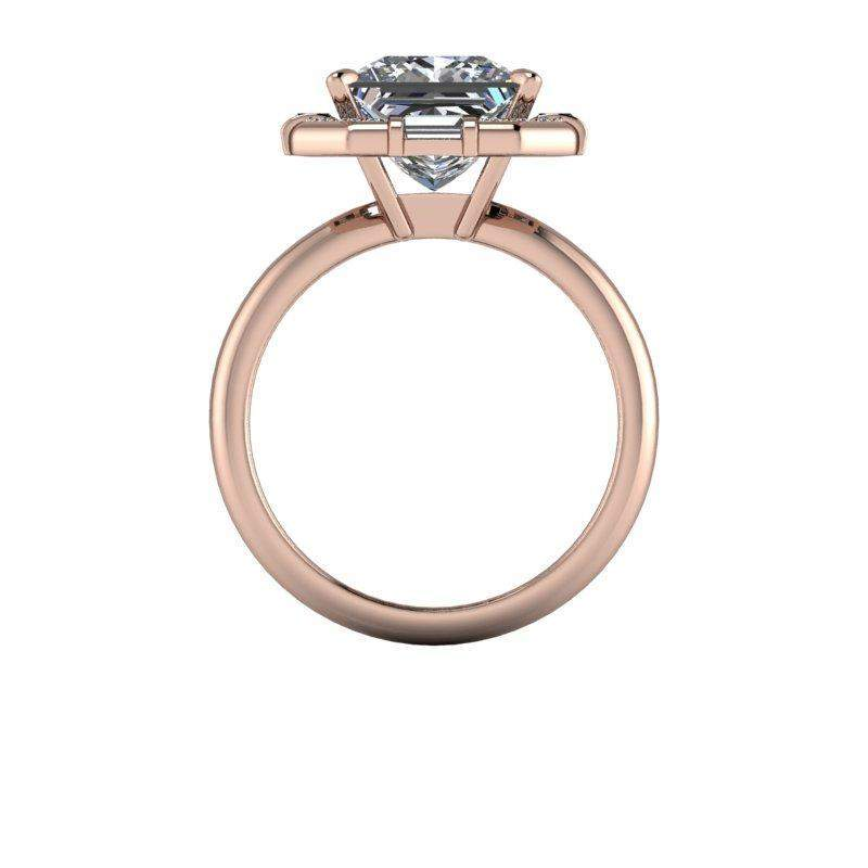 3.61 CTW Unique Halo Engagement Ring -Princess Cut Colorless Moissanite Ring-BVD