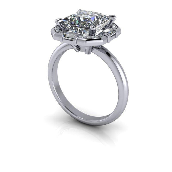 3.61 CTW Unique Halo Engagement Ring Princess Cut Colorless Moissanite Ring-Bel Viaggio Designs