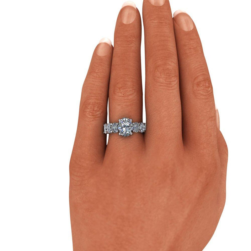 3.66 ctw Oval Charles & Colvard Moissanite Anniversary Ring/Engagement Ring-Bel Viaggio Designs