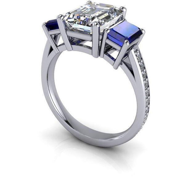3.67 CTW Emerald Cut Forever One Moissanite & Sapphire Three Stone Ring-BVD