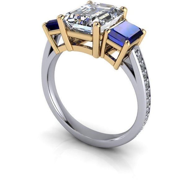 3.67 CTW Emerald Cut Forever One Moissanite & Sapphire Three Stone Ring-Bel Viaggio Designs