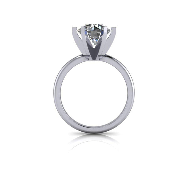 3.70 CTW 6-Prong Solitaire, Moissanite Engagement Ring and Dual Wedding Bands-Bel Viaggio Designs
