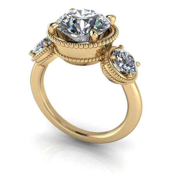 3.70 CTW Forever One Moissanite Three Stone Ring-BVD