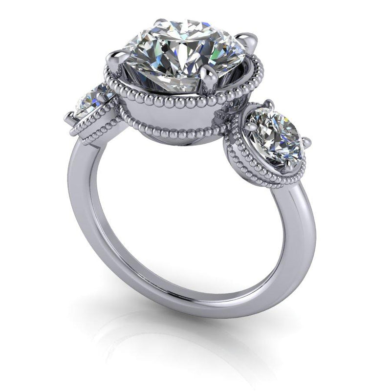 3.70 CTW Forever One Moissanite Three Stone Ring-Bel Viaggio Designs