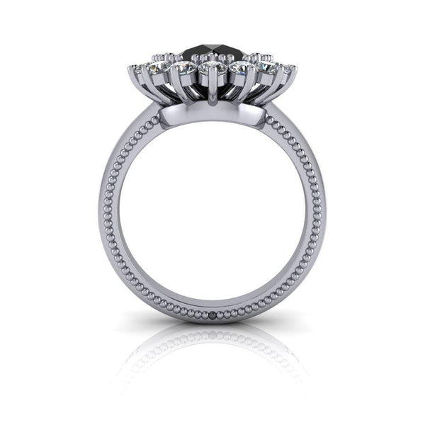 3.70 ctw Round Black Diamond Flower Halo Diamond Engagement Ring-Bel Viaggio Designs