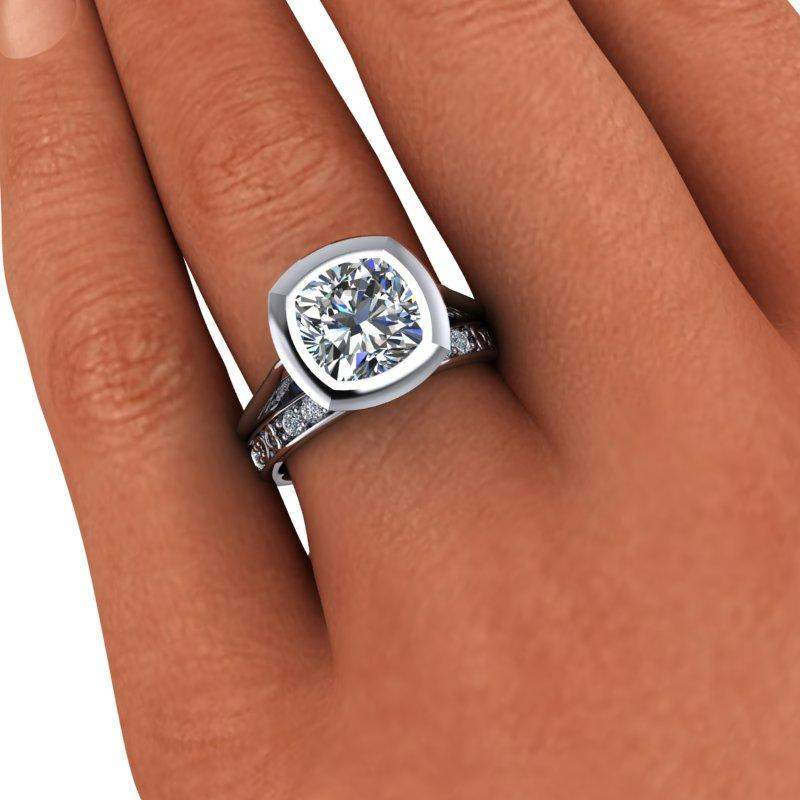 3.70 CTW Suspended Cushion Cut Engagement Ring and Moissanite Wedding Band-Bel Viaggio Designs