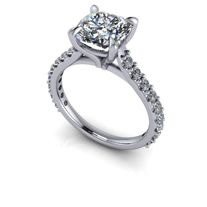 3.74 CTW Cushion Cut Forever One Moissanite Bridal Set-Forever One-Bel Viaggio Designs-Bel Viaggio®
