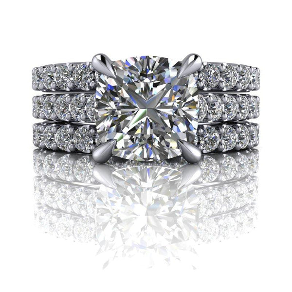 3.74 CTW Cushion Cut Forever One Moissanite Bridal Set-Bel Viaggio Designs