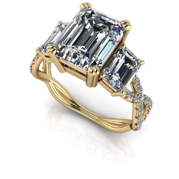 Engagement Ring For Sale Grande Prairie: 3.76 CTW Forever One Moissanite Emerald Cut Three Stone Ring