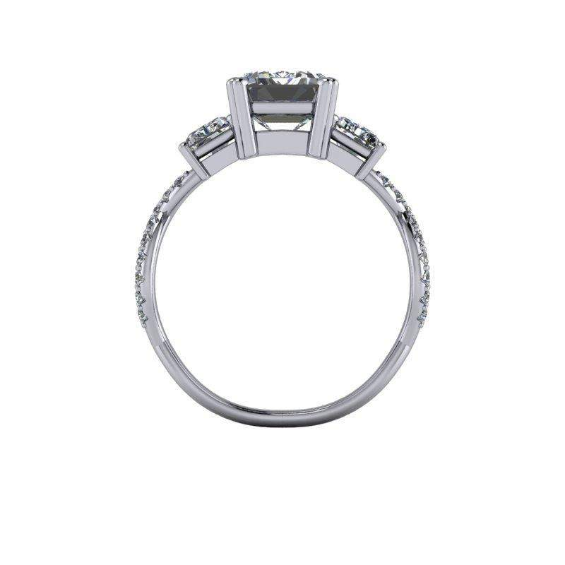3.76 CTW Forever One Moissanite Emerald Cut Three Stone Engagement Ring-Bel Viaggio Designs